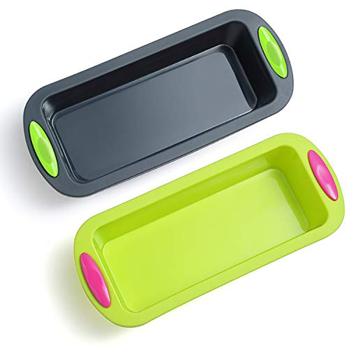 Megrocle Silicone Bread and Loaf Pan Set of 2, Nonstick...