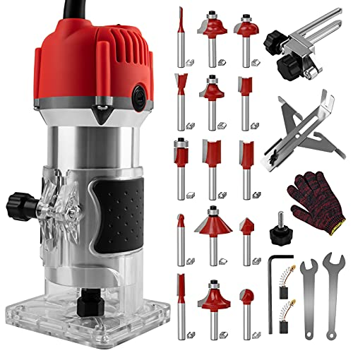 800W Compact Wood Router Tool, Portable Handheld Palm...